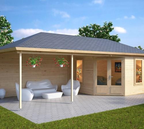 Garden room sophia with veranda 10m 44mm 3 5 x 8 m for Contemporary garden office buildings