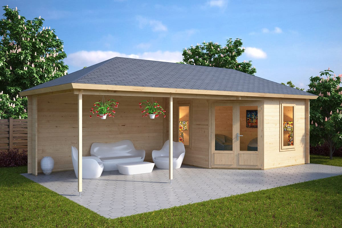 Garden room sophia with veranda 10m 44mm 3 5 x 8 m for Sophia house