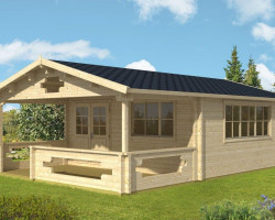 Log Cabin Summer House with Veranda Armin XL