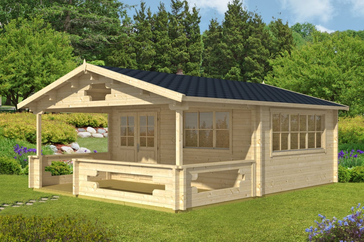 Wonderful image of Log Cabin Summer House with veranda Armin with #998632 color and 1200x800 pixels