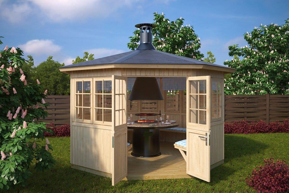 Garden bbq hut festival 9 5m 21mm 3 6 x 3 3 m for Small garden huts