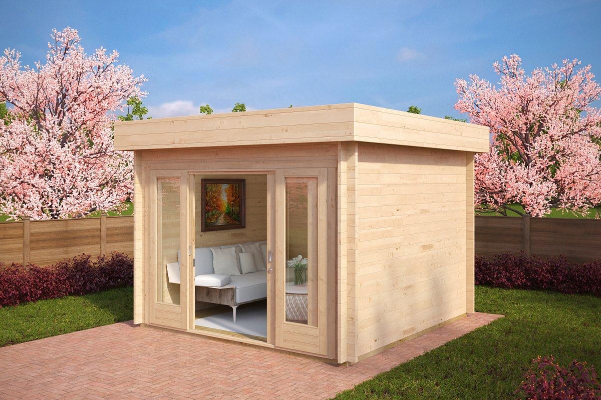 Modern garden office lucas e 9m 44mm 3 x 3 m summer for Large garden office