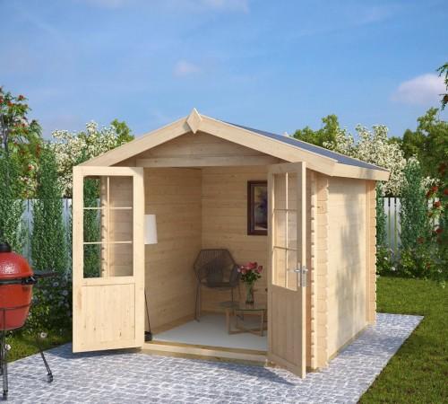 summer house garden shed anita m 5m 28mm 2 5 x 2 5 m summer house 24. Black Bedroom Furniture Sets. Home Design Ideas