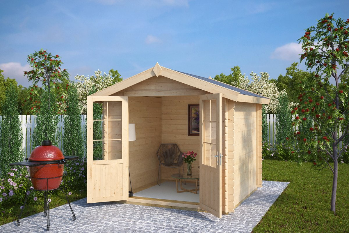Summer house garden shed anita m 5m 28mm 2 5 x 2 5 for Garden shed 2 x 2