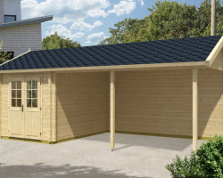 Wooden Carport with Tool Shed Arthur