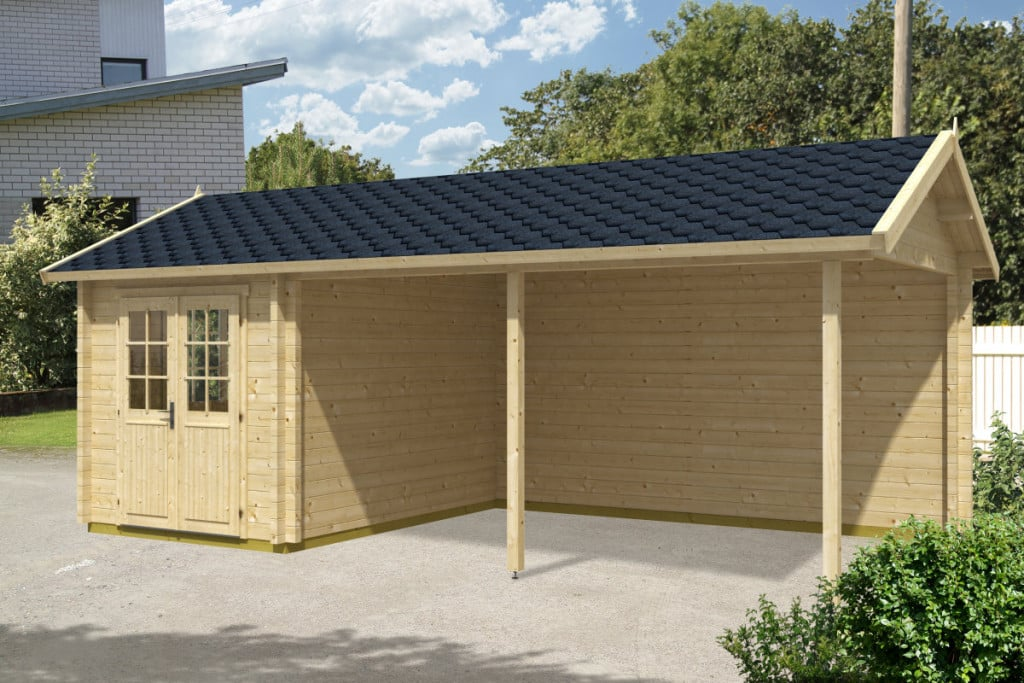 Wooden Carport Arthur With Tool Shed 21m² 70mm 35 X 7 M