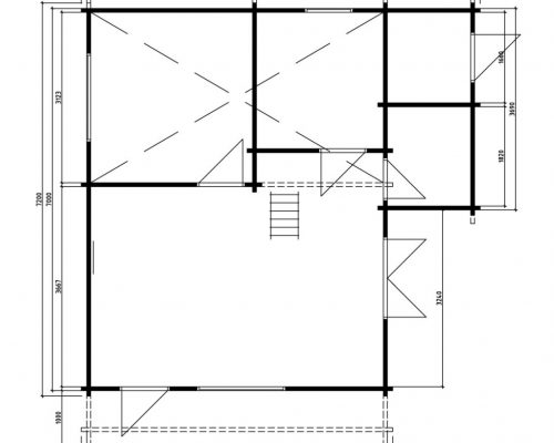 Log cabin with tool shed Dallas ground plan
