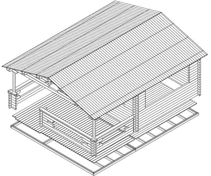 Garden log cabin with Veranda Armin