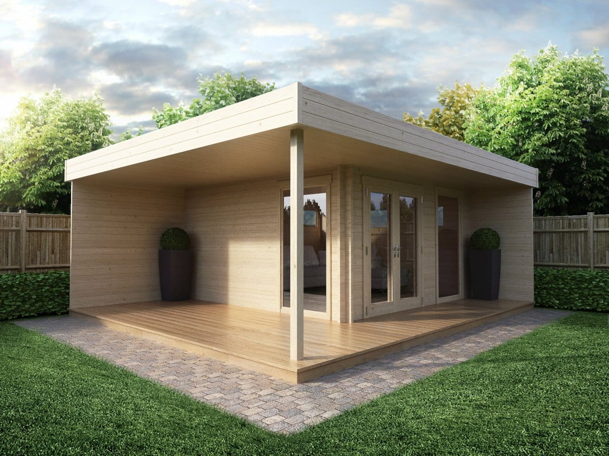 Modern garden office hansa lounge with veranda 12m 44mm for Large garden buildings