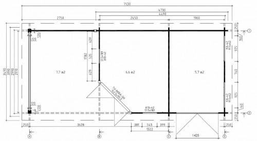 Gartenhaus Gerätehaus mit Terrasse Paula Plan