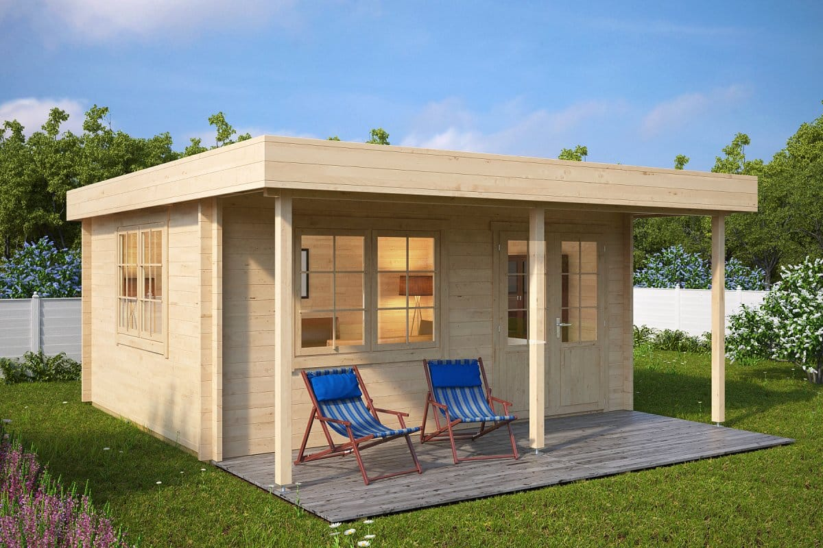 Garden Summer House With Canopy Ian C 18m² / 58mm / 5 X 4