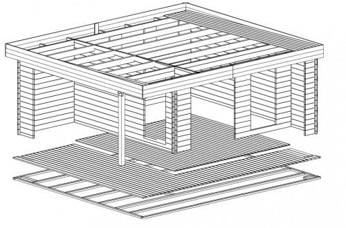 Gartenhaus mit terrasse Hansa Lounge XL 3D