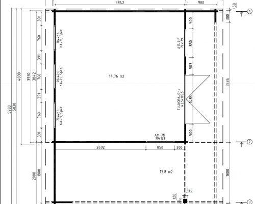 Groundplan Summer house with veranda Hansa Lounge XL