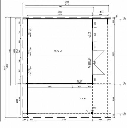 Gartenhaus mit terrasse Hansa Lounge XL grundplan