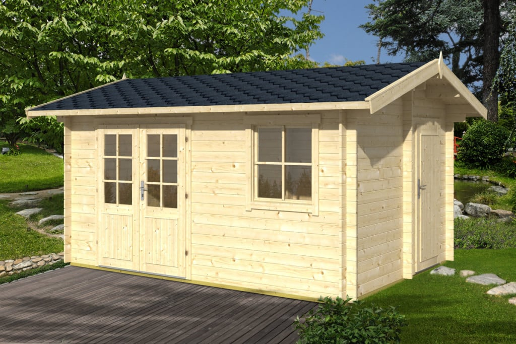 Summerhouse with tool shed gustav 10 5m 28mm 4 1 x 3 for Garden shed 2 rooms