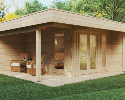 Modern Garden Office Hansa Lounge with Veranda 12m² / 44mm / 5 x 5 m