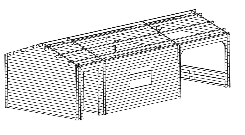 Log Cabin Heinz with Tool Shed
