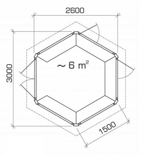 Hexagonal BBQ Hut Ground Plan