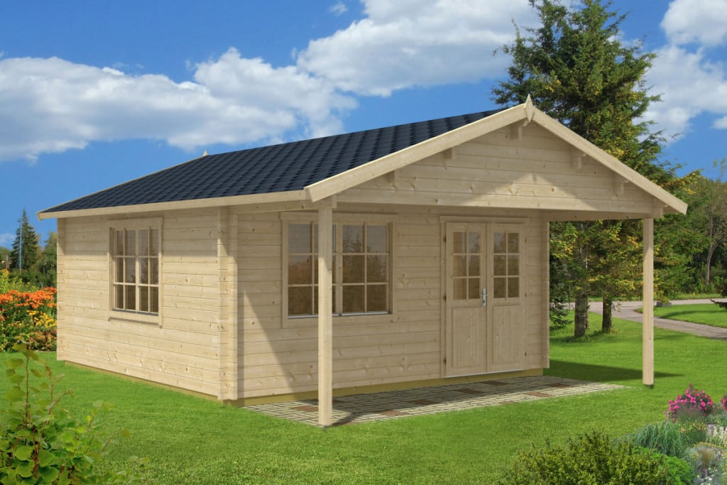 Large garden summer house carl 22m 58mm 5 x 5 m for Large garden office