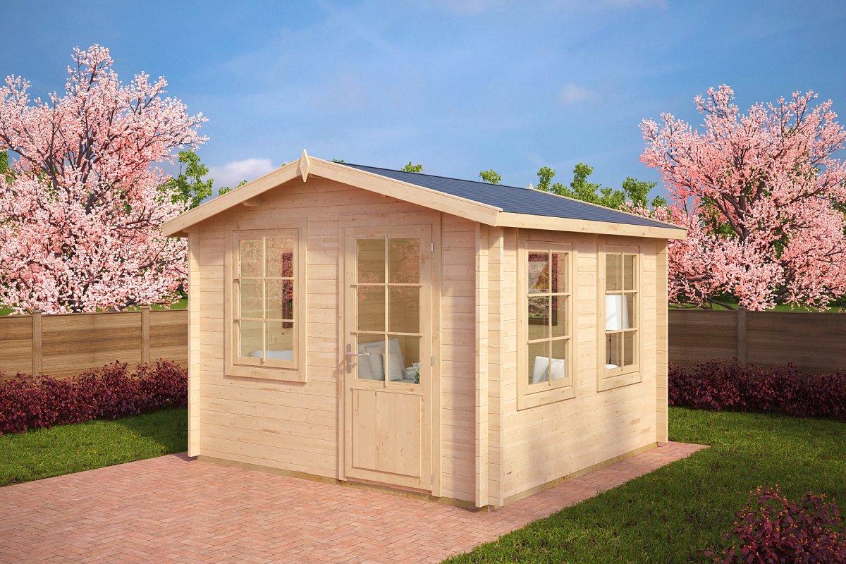 Garden summer house nora c 8 5m 40mm 3 2 x 3 2 m for Large garden office