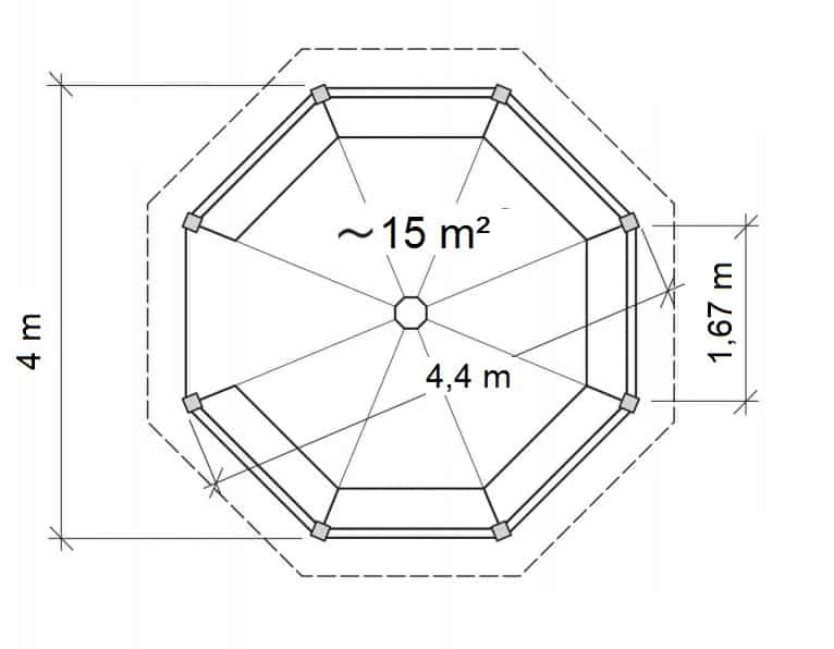 Octagonal Gazebo XL Ground Plan
