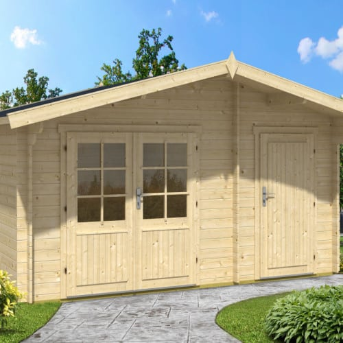 Garden summer house with shed otto 10 5m 28mm 4 1 x 3 for Garden shed 4 x 3