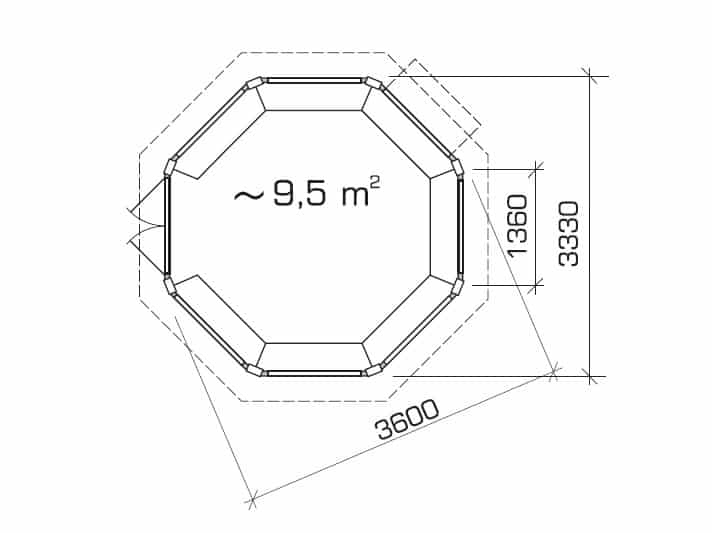 Octagonal Summer house Paradise L ground plan