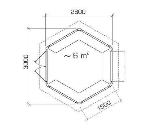 Hexagonal Summer house Paradise Ground Plan