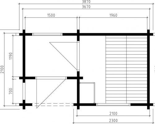 Outdoor Sauna Cabin Lisette Ground Plan