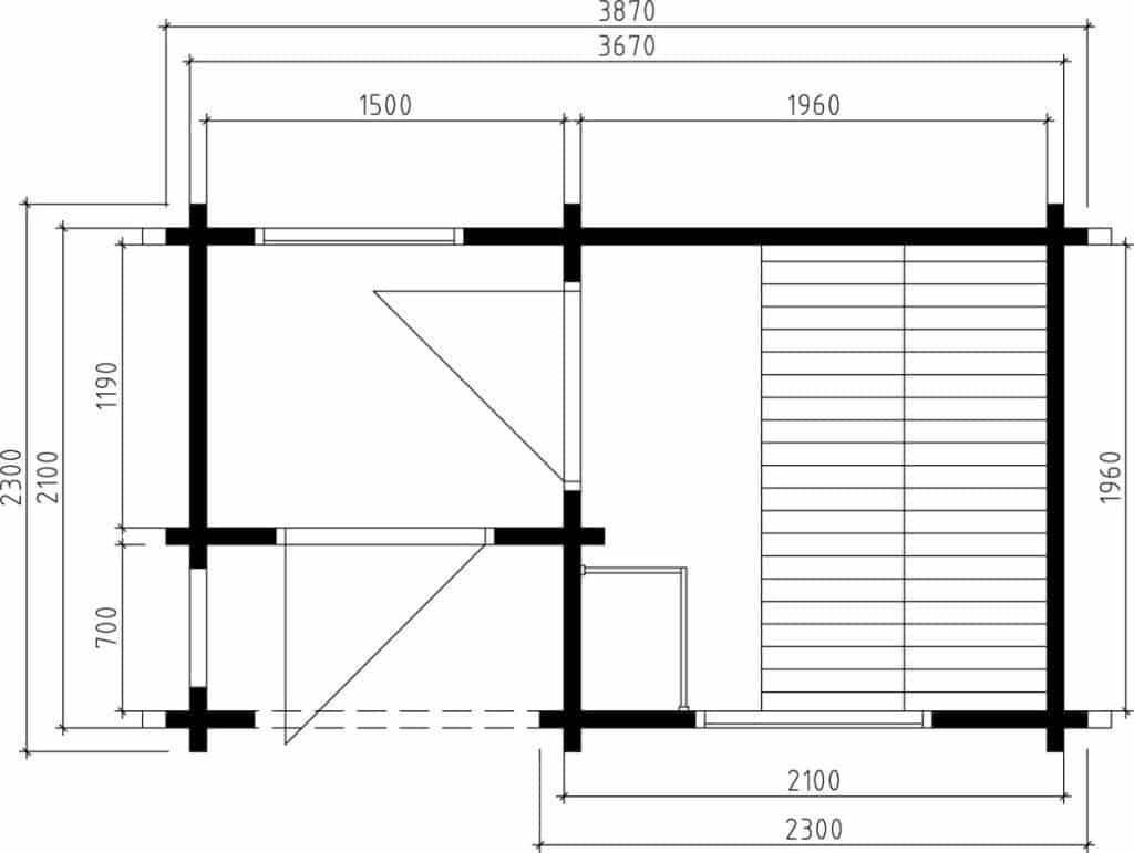 Outdoor Sauna Cabin Lisette Ground Plan