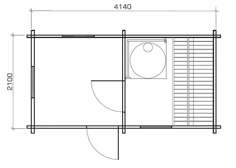 Outdoor Sauna Cabin Mika Ground Plan