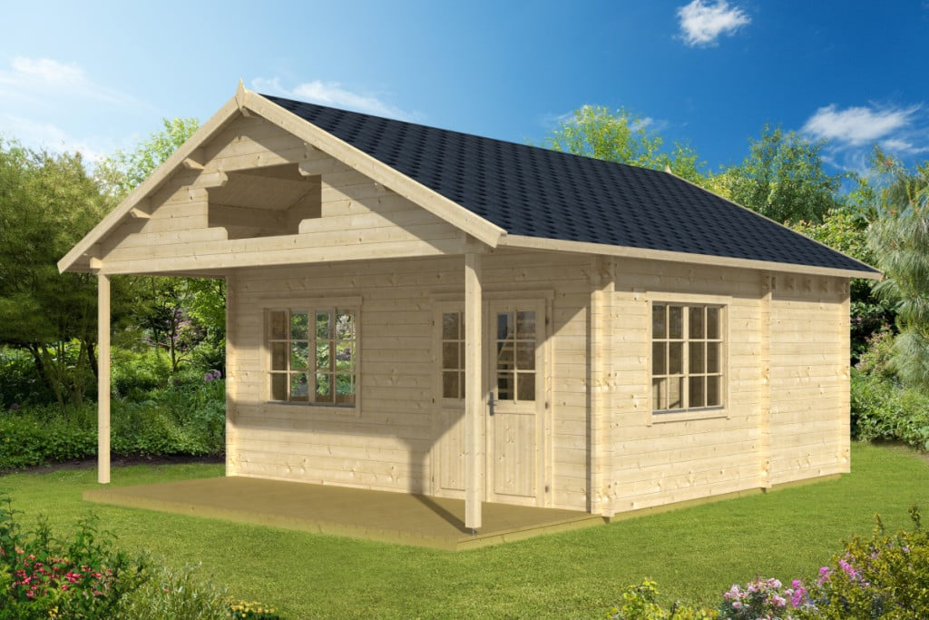Large garden log cabin liverpool 26m 58mm 5 3 x 5 3 m for Garden shed 3x5