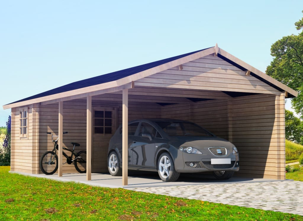 extra large wooden carport emma with tool shed 30m 44mm 4 3 x 7 7 m summer house 24. Black Bedroom Furniture Sets. Home Design Ideas