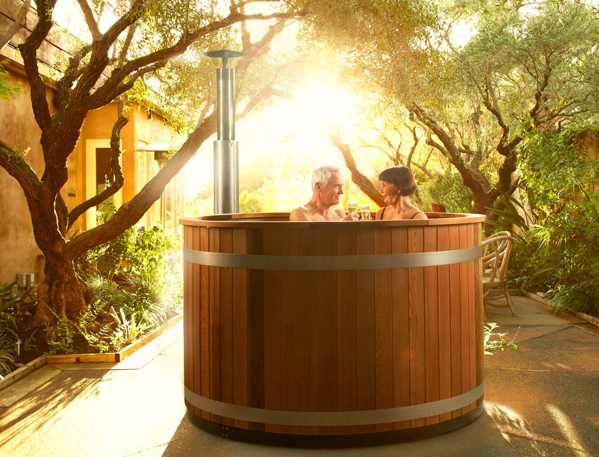 Plastic wood fired hot tub cozy m summer house