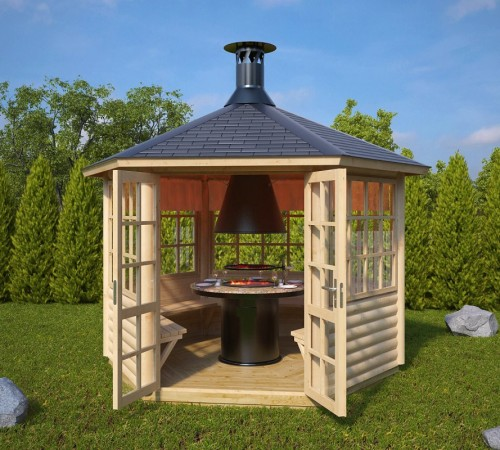 Garden bbq hut seattle 6m 55mm 3 x 2 6 m for Storage huts for garden
