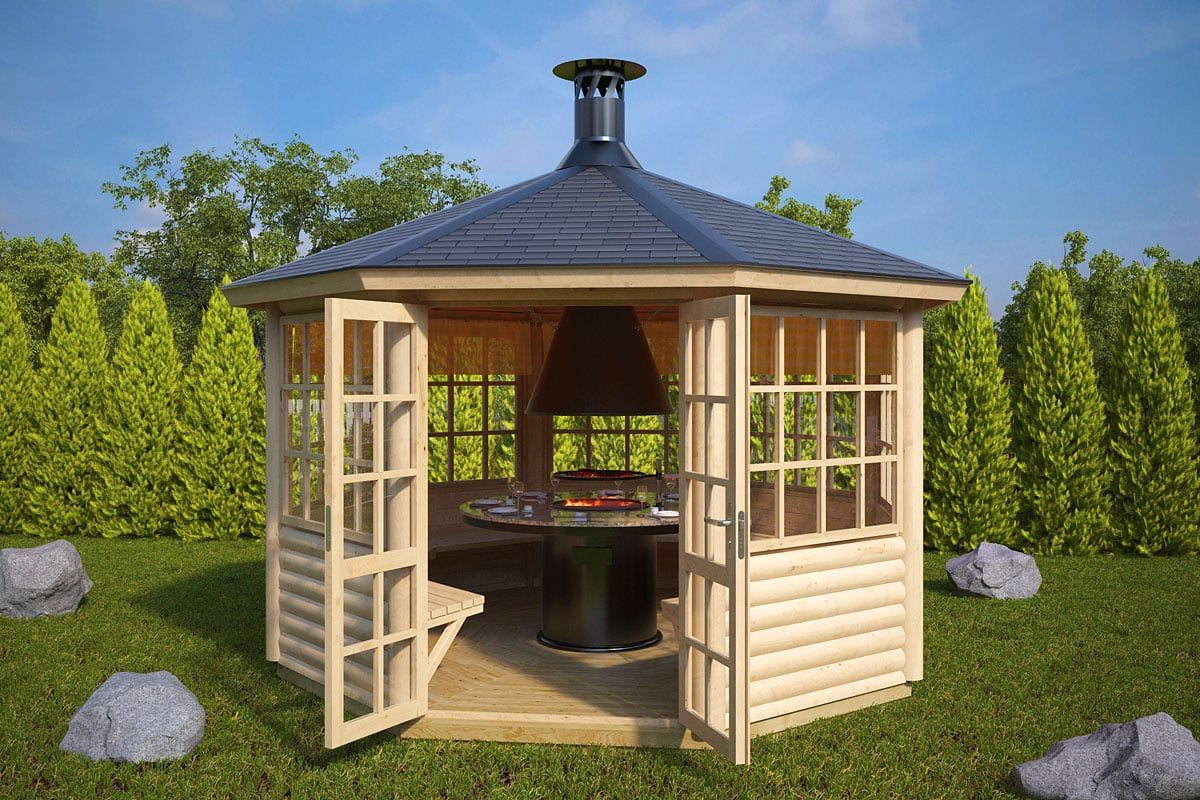 Bbq hut seattle 9 5m 55mm 3 6 x 3 3 m for Small garden huts