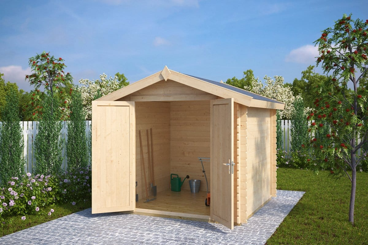 8x8 garden storage shed andy m 5m 28mm 2 5 x 2 5 m for Garden shed 8x5