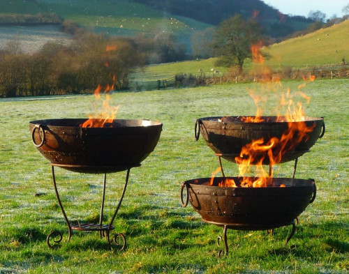 Kadai Firebowls on high and low stands