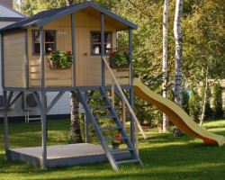 Wooden Playhouse with Slide Merlyn