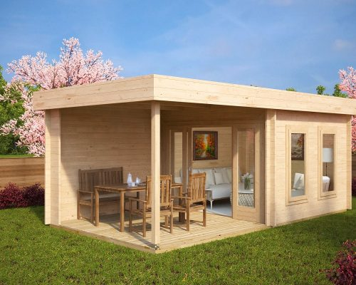 Contemporary Garden Log Cabin with Veranda Lucas E