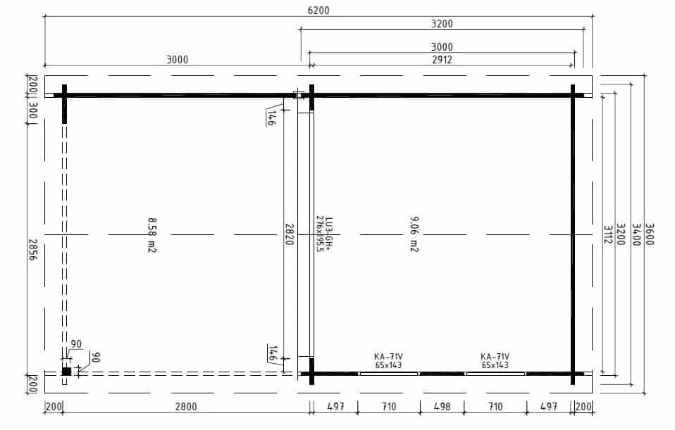 Contemporary Garden Log Cabin with Veranda Lucas E ground plan