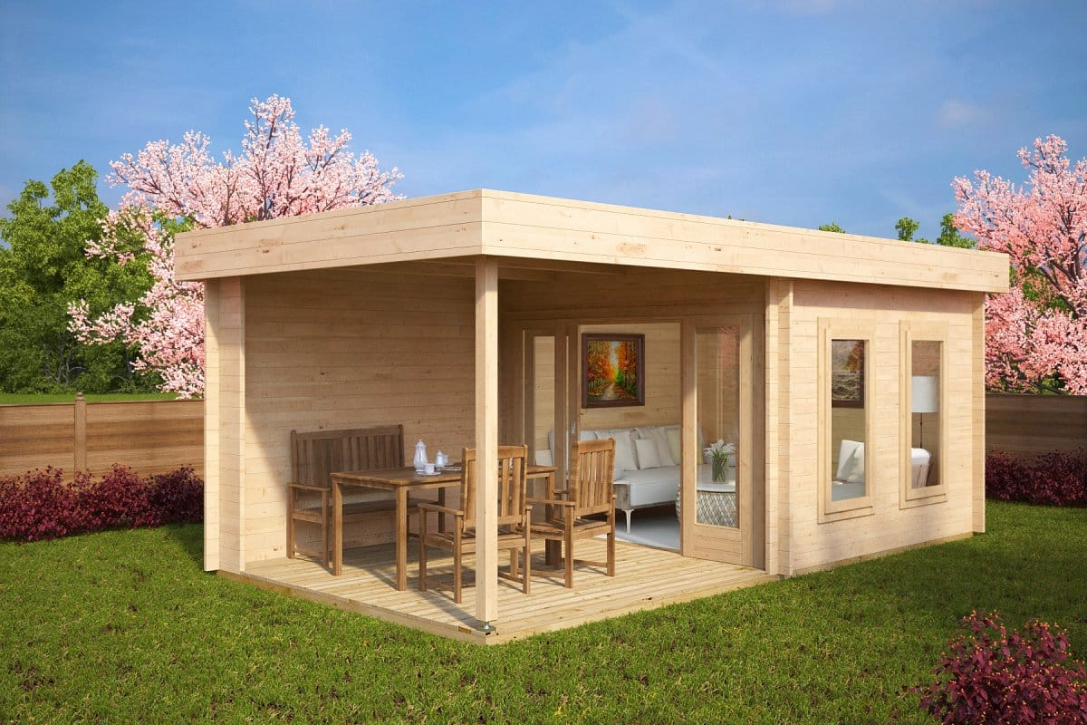 contemporary garden log cabin with veranda lucas e - Garden Sheds With Veranda