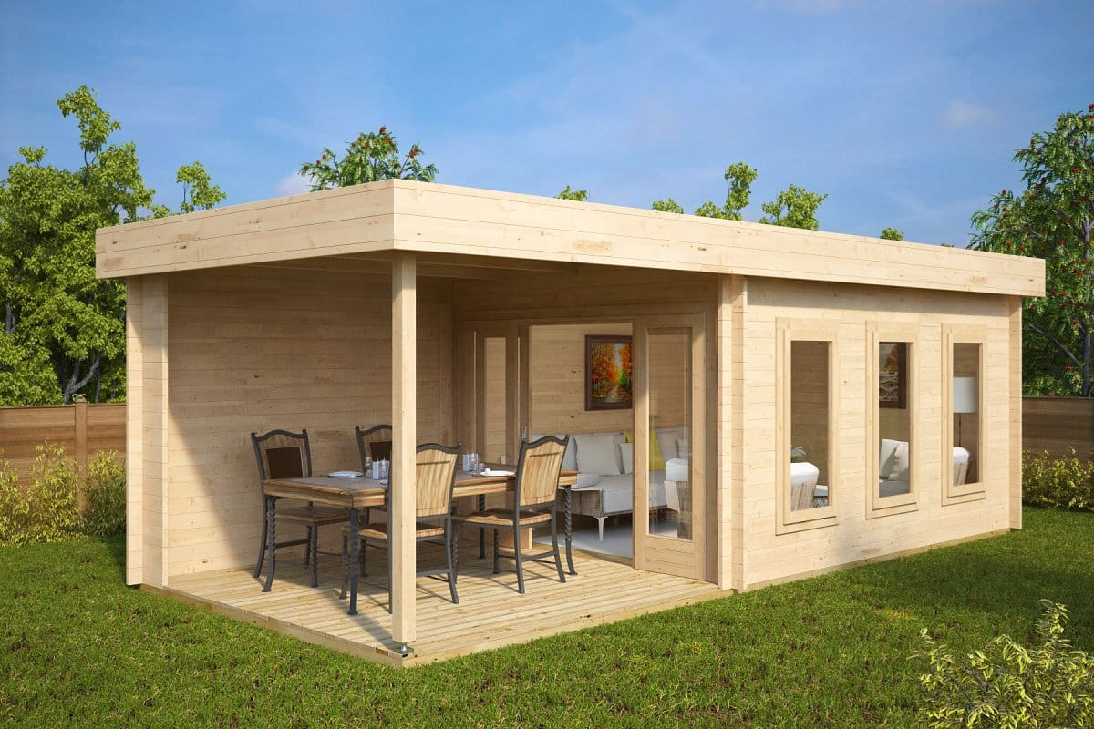 Contemporary garden summer house with veranda jacob e 12m for Large garden buildings