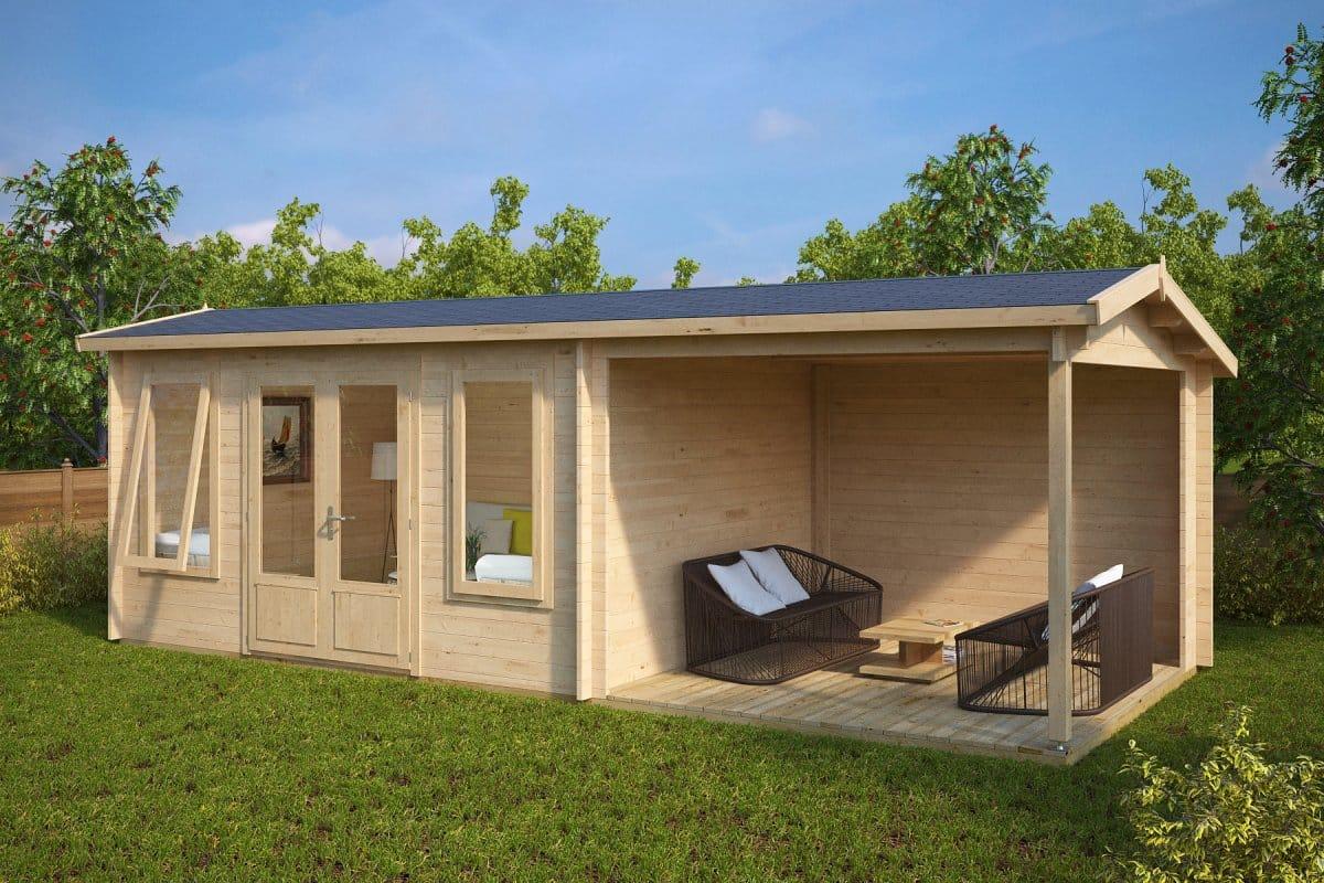 Garden Sheds With Veranda garden log cabin with veranda eva d 12m² / 44mm / 3 x 7 m – summer