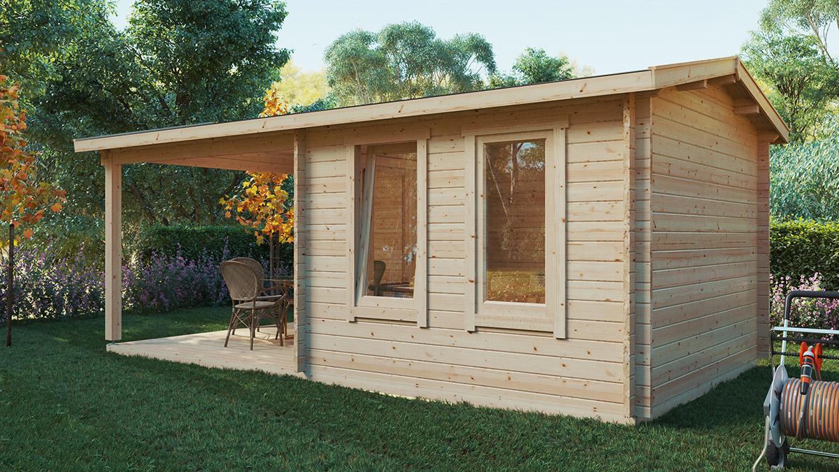 Garden Room with Veranda Nora E 9m² / 44mm / 3 x 6 m