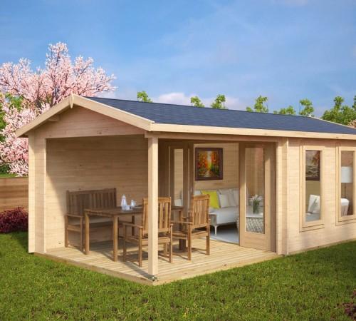 Garden room with veranda nora e 9m 44mm 3 x 6 m summer house 24 - Garden summer houses with verandas ...