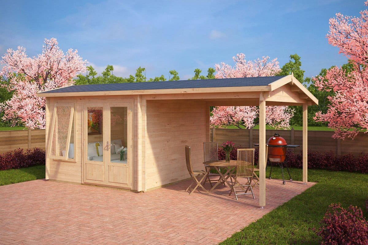 Garden room with canopy nora d 9m 44mm 3 x 3 m for Large garden room