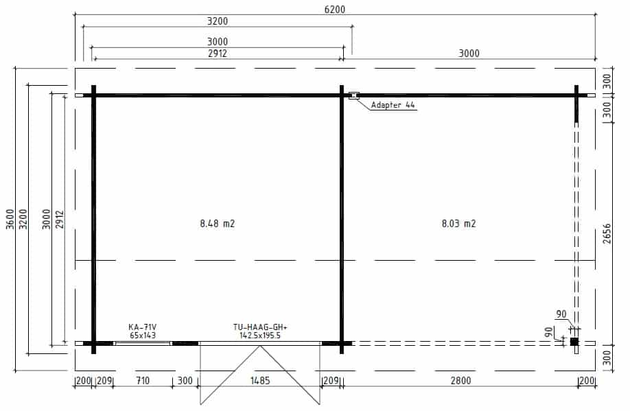 Summer House with veranda Nora D Ground Plan