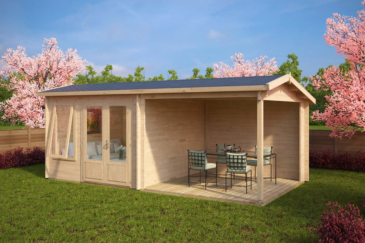 Summer house with veranda nora d 9m 44mm 3 x 6 m for Garden designs with summer houses