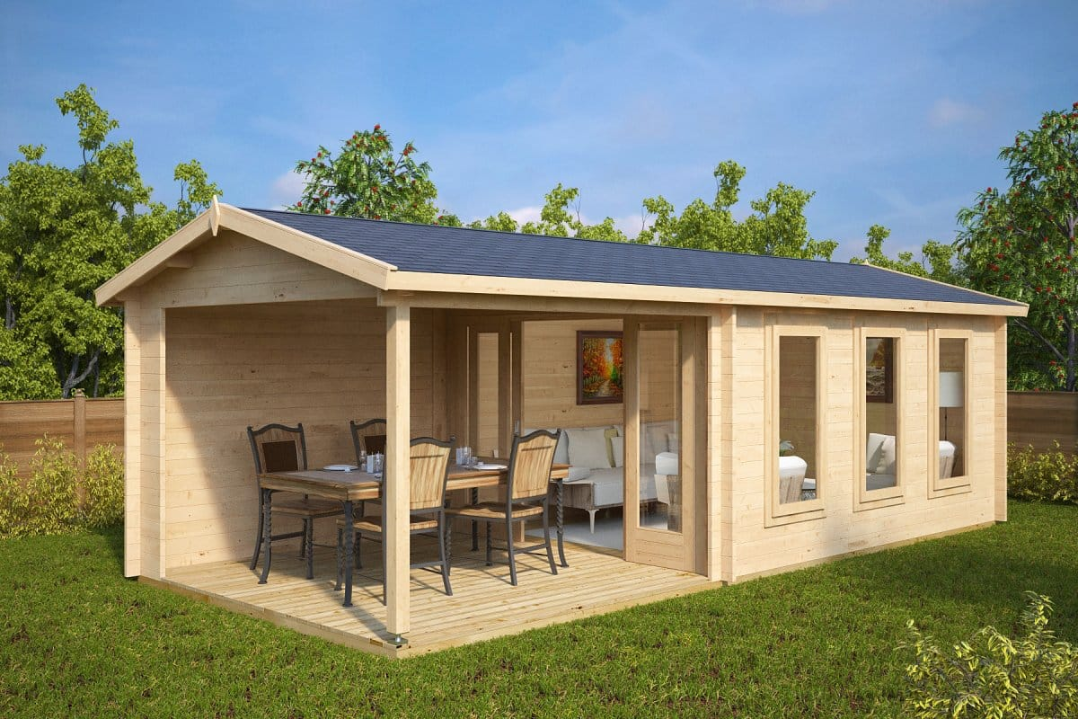 Garden summer house with veranda eva e 12m 44mm 3 x 7 for Large garden buildings
